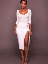 Rivets Half Sleeve White Women's Bodycon Dress