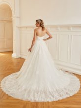 A-Line Strapless Lace Wedding Dress