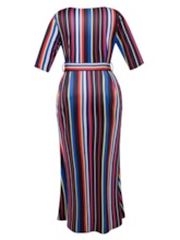 Plus Size Half Sleeve Striped Women's Maxi Dress