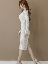 Off White Long Sleeve Sheath Women's Lace Dress