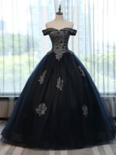 Ball Gown Off-the-Shoulder Appliques Lace-Up Quinceanera Dress