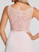 Bateau Neck Beaded Appliques A Line Evening Dress