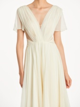 V-Neck Ruched Short Sleeves Bridesmaid Dress