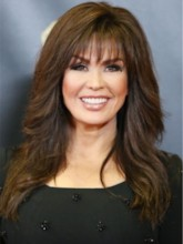 Marie Osmond Hairstyles Women's Long Wavy Synthetic Hair Wigs With Bangs Natural Looking Capless Wigs 16Inches