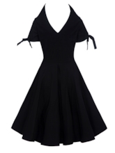 Black Short Sleeve Backless Women's Day Dress