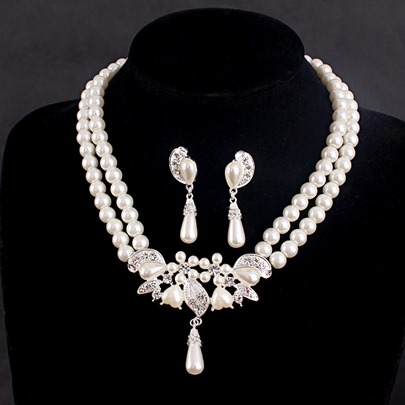 Synthetic Pearl Alloy Double Wedding Jewelry Sets Synthetic Pearl Alloy Double Wedding Jewelry Sets