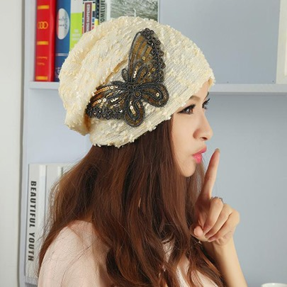 Butterfly Lace Sequins Skullies & Beanies Hats