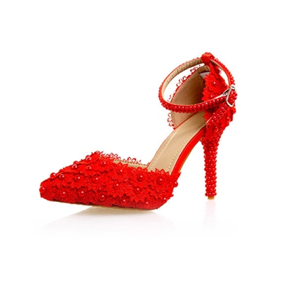 Pointed Toe Line-Style Buckle Beads Lace Red Wedding Shoes for Women Pointed Toe Line-Style Buckle Beads Lace Red Wedding Shoes for Women