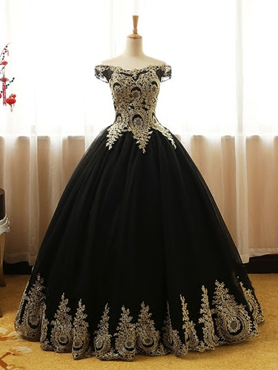 Off-the-Shoulder Appliques Long Quinceanera Dress