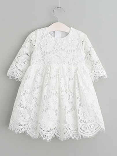 Lace Christening Baptism Girls Dress with Sleeve