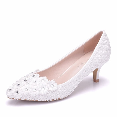 High Heel Wedding Shoes Slip-On Appliques Rhinestone Women's Heels