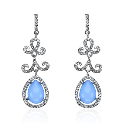 Pear Shaped Light Blue Rhinestone Earrings