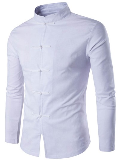 Chinese Style Stand Collar Linen Decorated Button Solid Color Slim Fit Men's Shirt