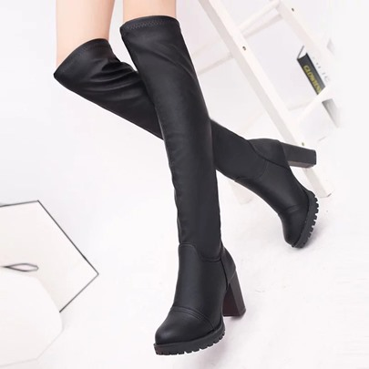 Chunky Heel Slip-ON Black Knee-High Boots for Women