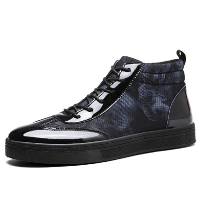 Camouflage Patent Leather Lace-Up Men's Dress Shoes