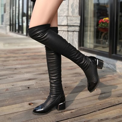 Slip-On Cotton Chunky Heel Thigh High Boots
