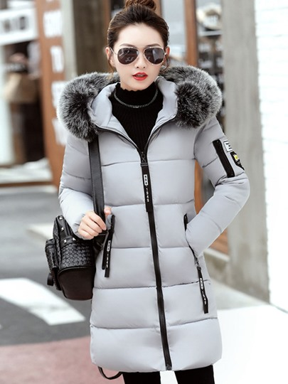 Long Badge Faux Fur Hooded Women's Overcoat