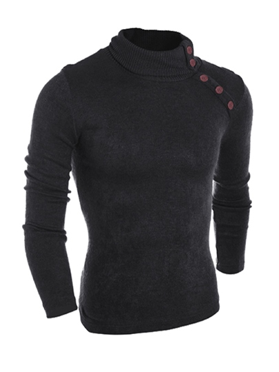 Turtleneck Button Decorated Plain Slim Men's Sweater