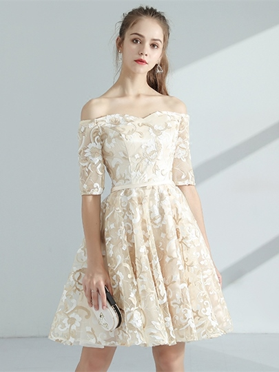 A-Line Half Sleeves Off-the-Shoulder Knee-Length Sashes Homecoming Dress