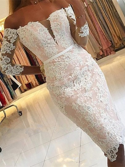 Sheath 3/4 Length Sleeves Off-the-Shoulder Appliques Beading Button Lace Cocktail Dress