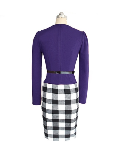Long Sleeve Plaid Double-Layered Women's Pencil Dress