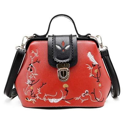 Korean Style Concise Embroidery Cross Body Bag
