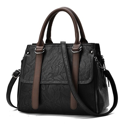 Belt-Decorated Color Block Women Tote