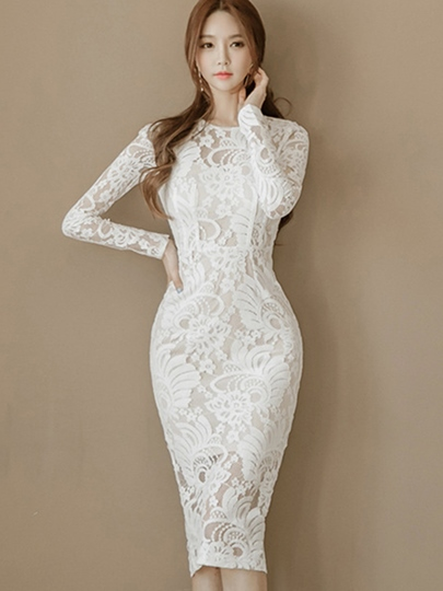 Off White Long Sleeve Sheath Womens Lace Dress Off White Long Sleeve Sheath Women's Lace Dress