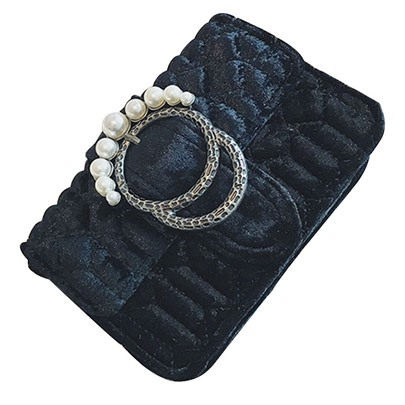 Korean Style Velvet Pearl Adornment Clutch