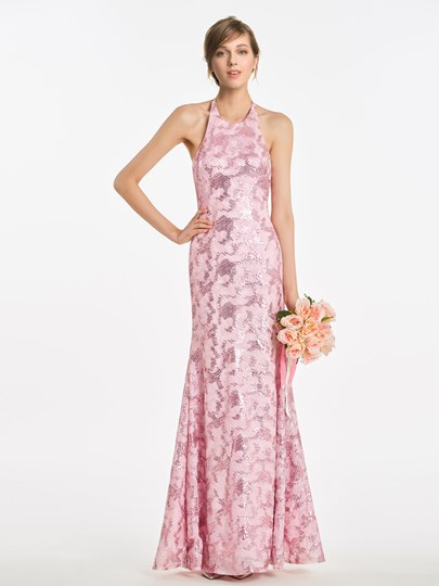 Halter Sheath Sequined Bridesmaid Dress
