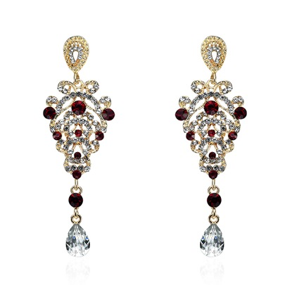 Imitation Ruby Inlaid Diamond-Shaped Pendant Court Style Earrings