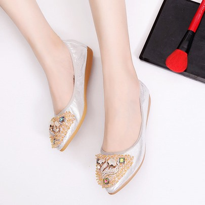 Slip-On Flat With Animal Rhinestone Women's Casual Shoes