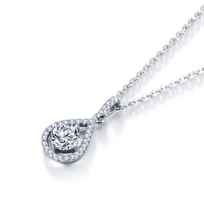 Water Drop Cubic Zirconia Sterling Silver Necklace