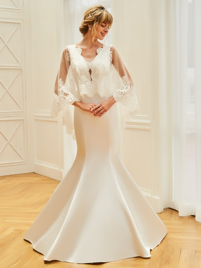 V-Neck Appliques Mermaid Wedding Dress with Sleeves
