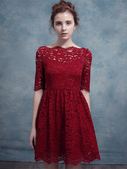 A-Line Half Sleeves Bateau Lace Short Homecoming Dress