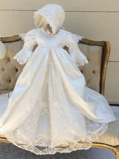 Sleeves Lace Baptism Gown With Bonnet