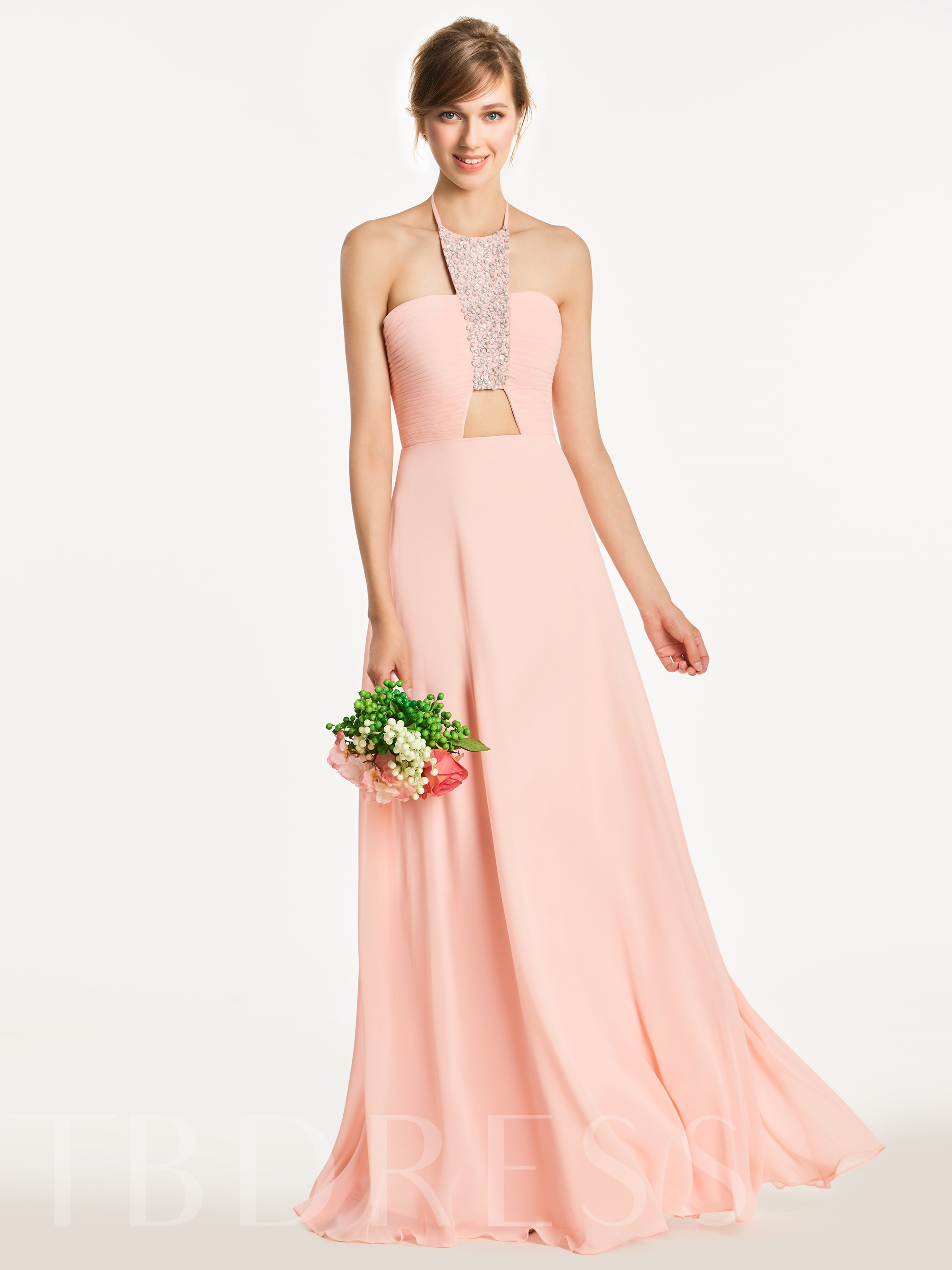 Image of Halter Beading Ruched A-Line Bridesmaid Dress