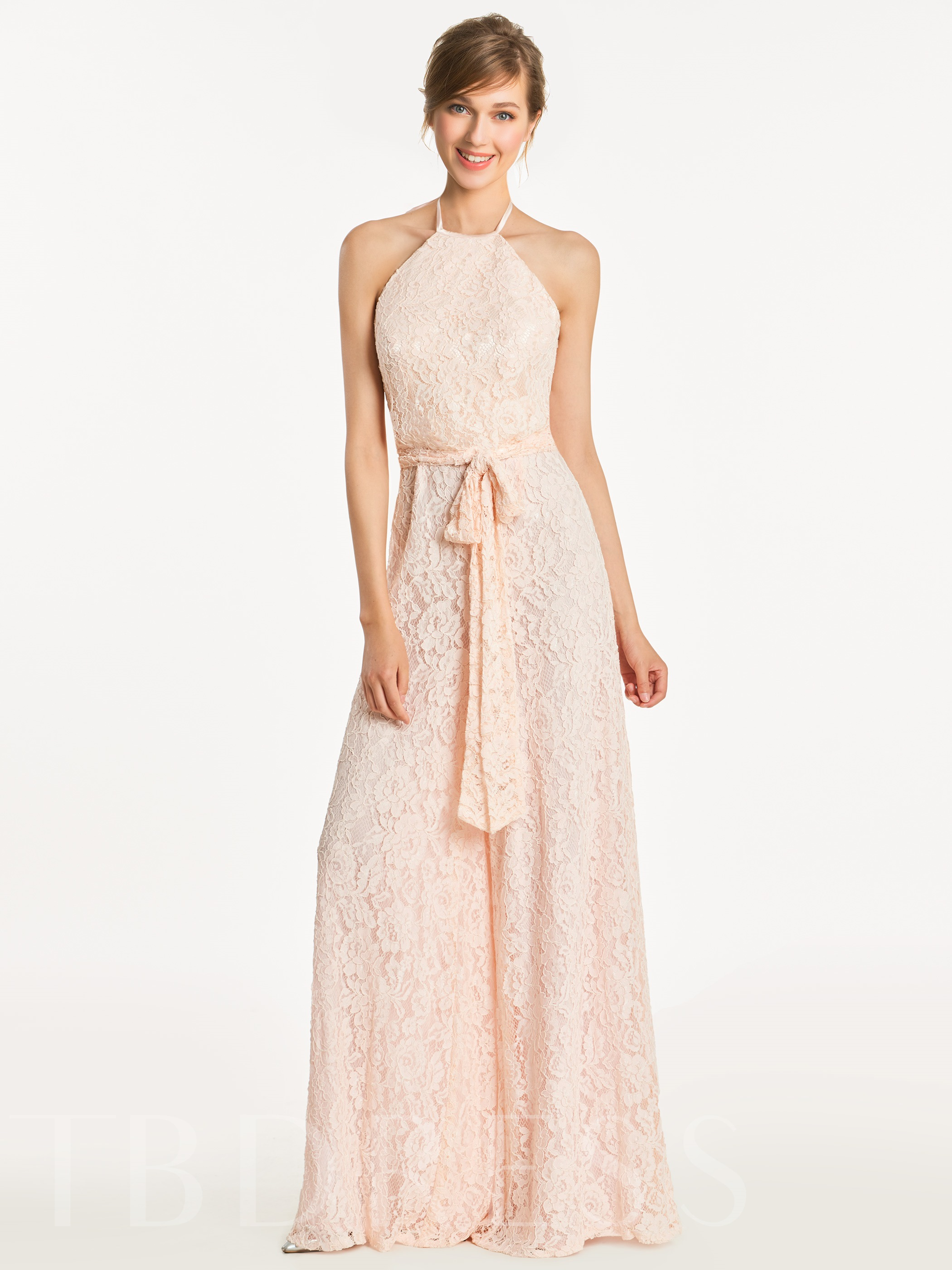 Image of Halter Sashes Lace Bridesmaid Jumpsuit
