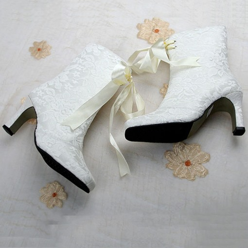Side Zipper Cross Strap Chunky Heel Women's White Boots Wedding Shoes