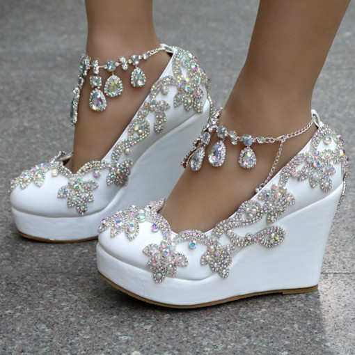 Wedge Heel Rhinestone Buckle Round Toe Wedding Shoes