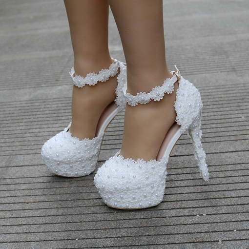 Appliques Line-Style Buckle Bead Platform Women's White Wedding Shoes