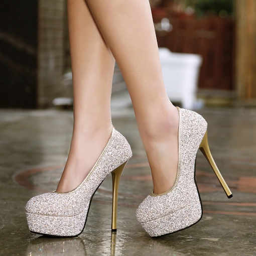 Glitter Slip-on Bankett Frauen High Heels Pumps Schuhe