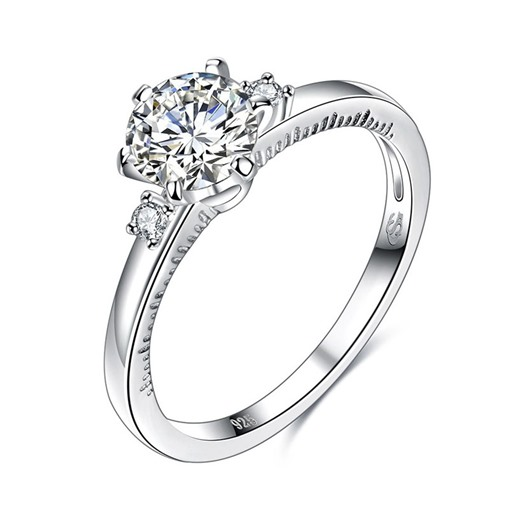Round Cut Zircon Inlaid Six Claw Sterling Silver Ring