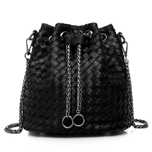 Stylish Knitted Pattern Bucket Shape Cross Body