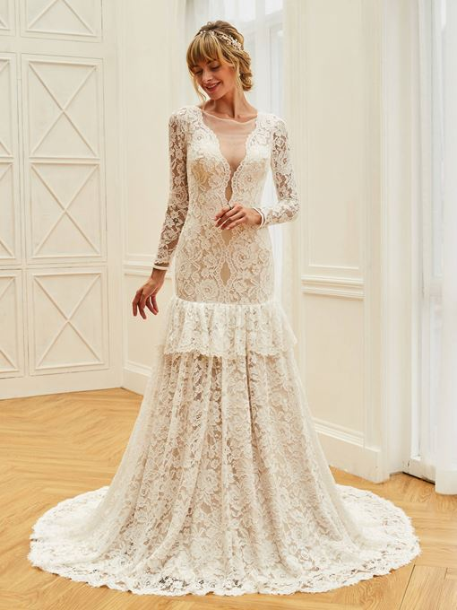 Mermaid Tiered Lace Wedding Dress with Long Sleeve