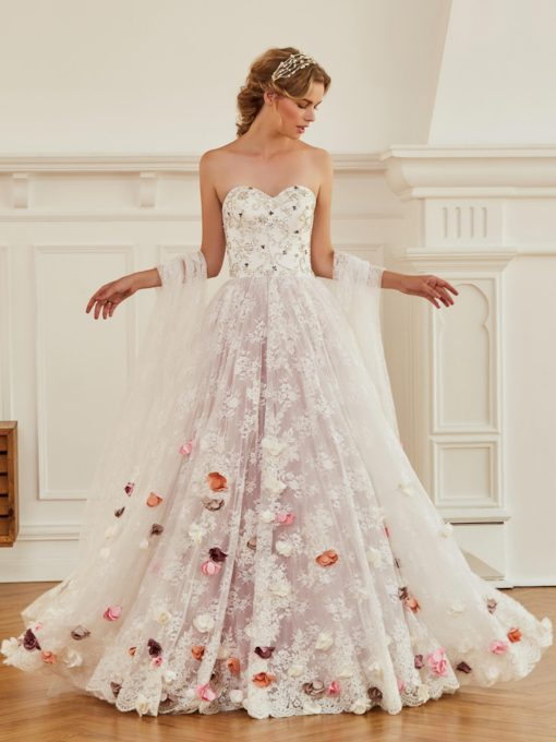 Sweetheart Beading Flowers Lace Wedding Dress