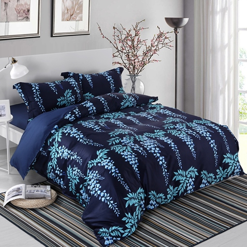 Floral Plant and European Pattern 4-Piece Cotton Bedding Sets