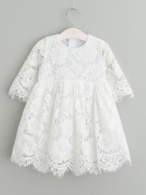Lace Baby Girl's Christening Dress with Sleeve