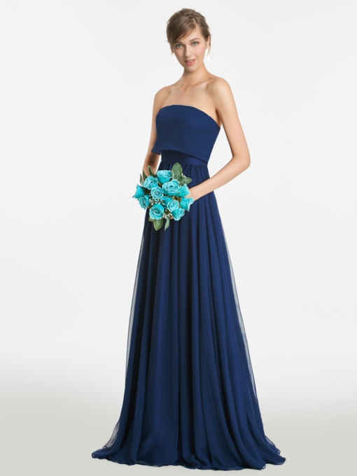 Strapless Zipper-Up Floor-Length A-Line Bridesmaid Dress