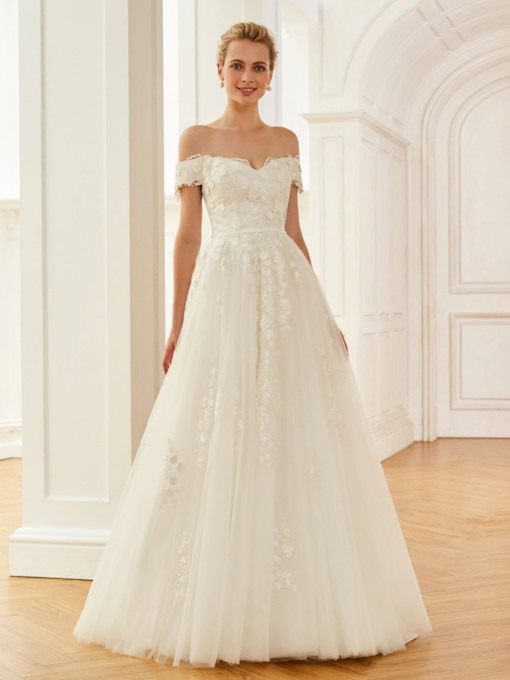 Off the Shoulder Flowers Appliques Wedding Dress
